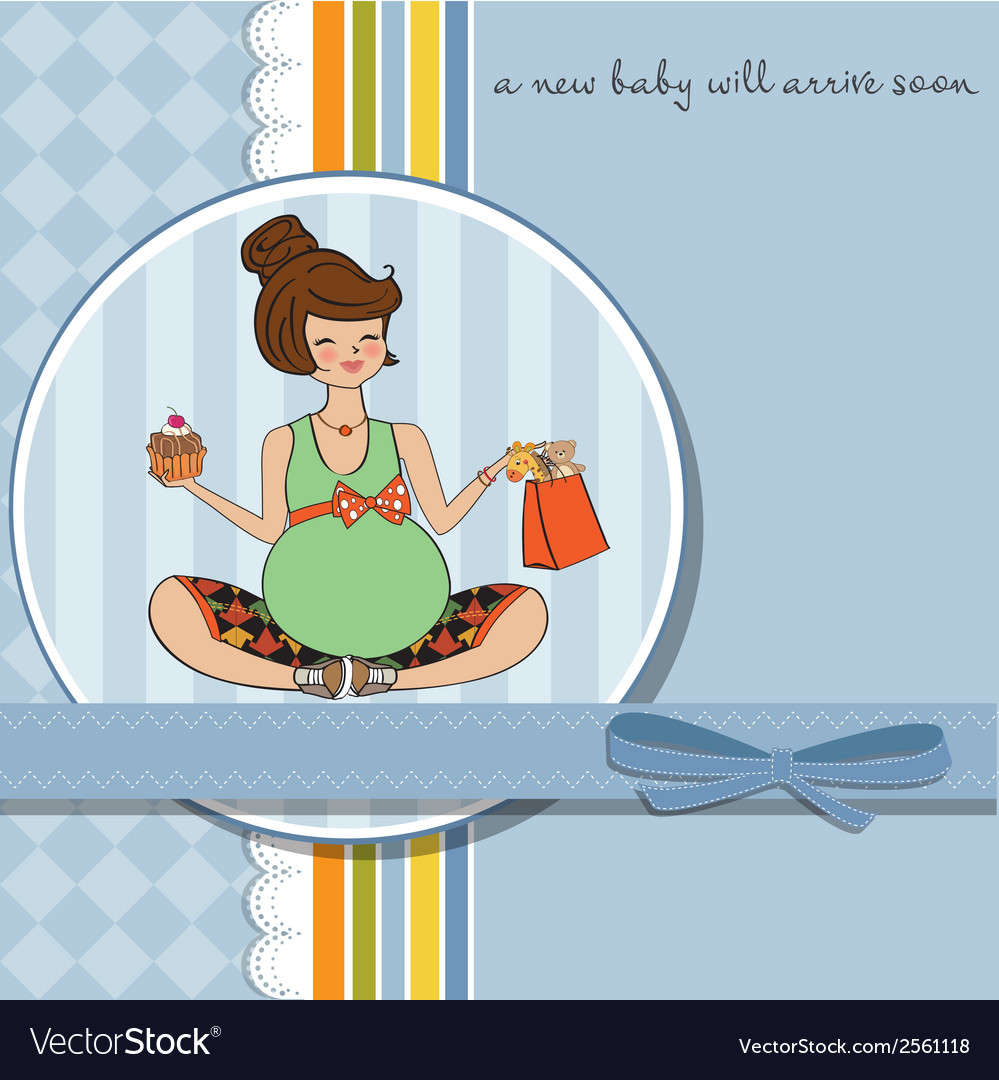 Baby announcement card with pregnant woman vector | Price: 1 Credit (USD $1)