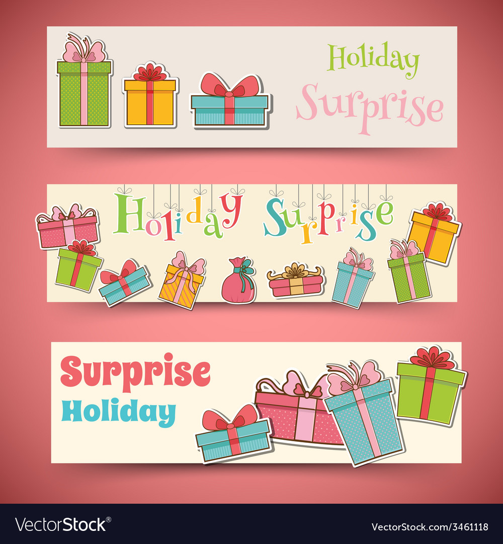 Colorful vintage gift postcard banners concept vector | Price: 1 Credit (USD $1)