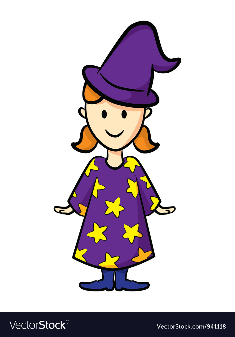 Cute girl wearing witch uniform vector | Price: 1 Credit (USD $1)