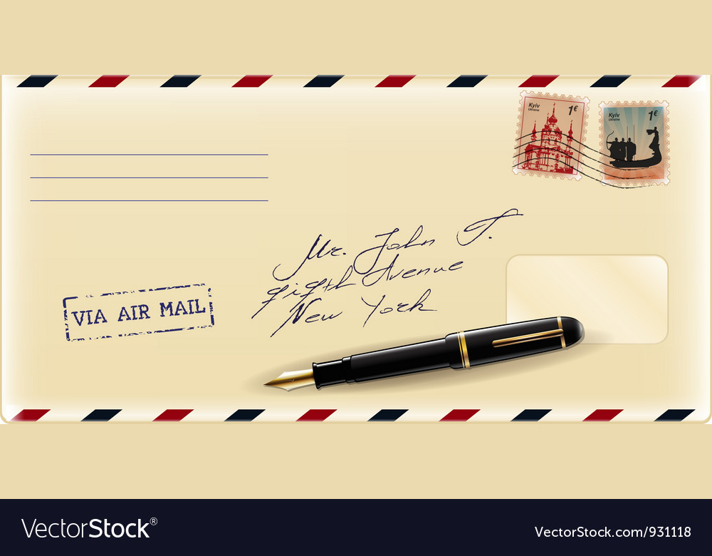 Envelope with fountain pen vector | Price: 1 Credit (USD $1)
