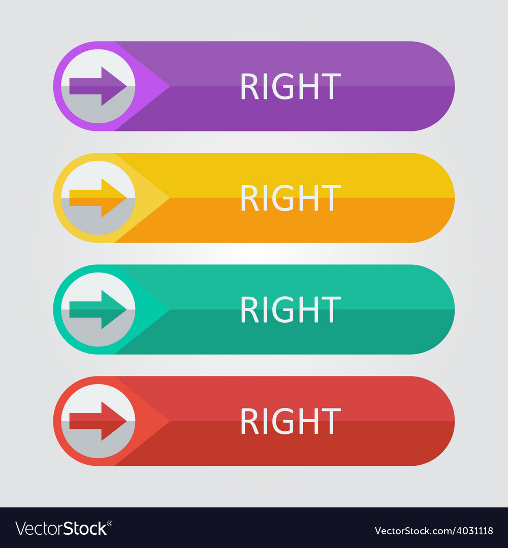 Flat buttons right arrow vector | Price: 1 Credit (USD $1)
