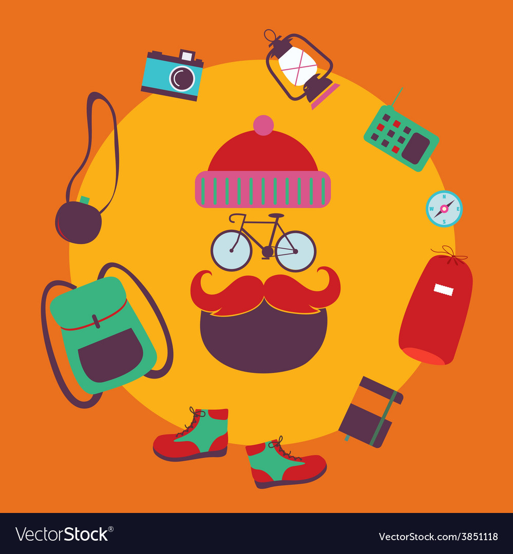 Hipster cyclist character design vector | Price: 1 Credit (USD $1)