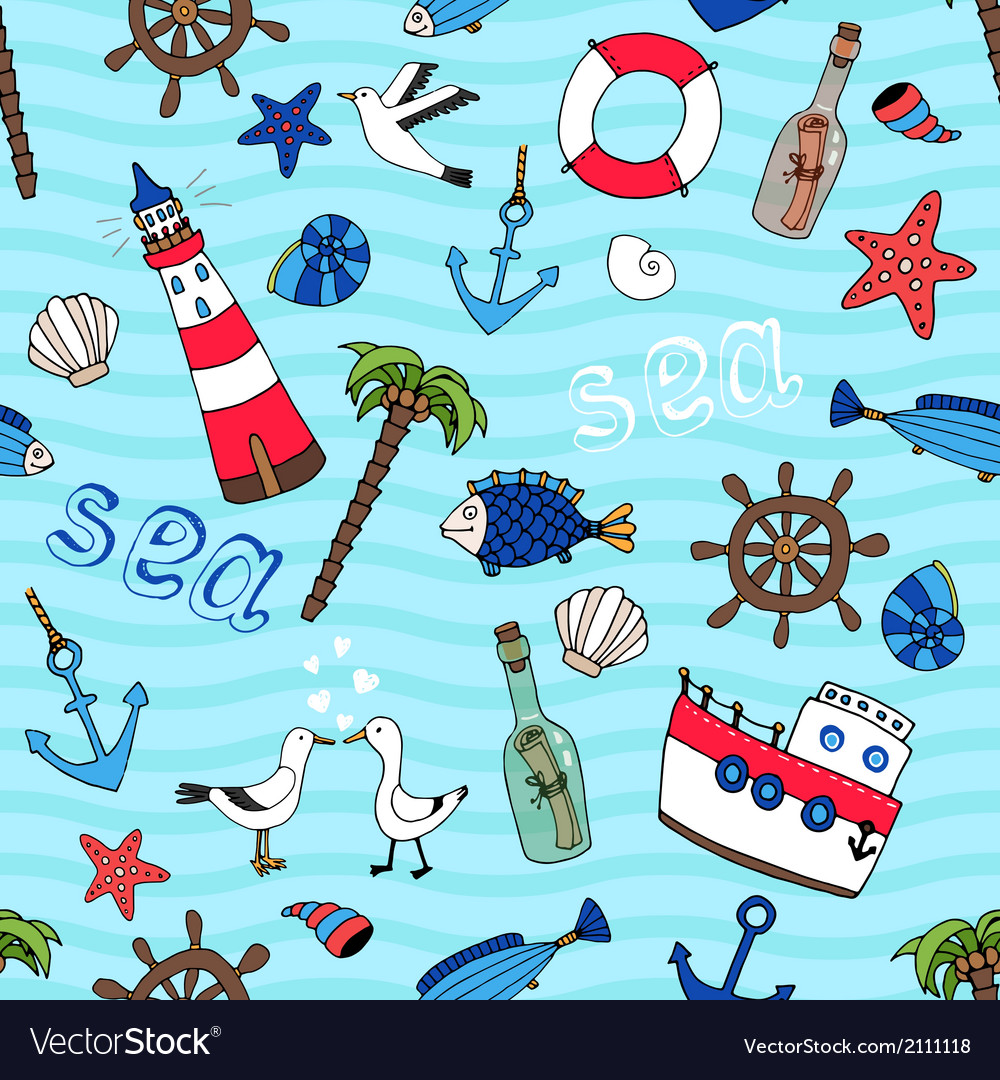 Nautical seamless pattern in retro style vector | Price: 1 Credit (USD $1)