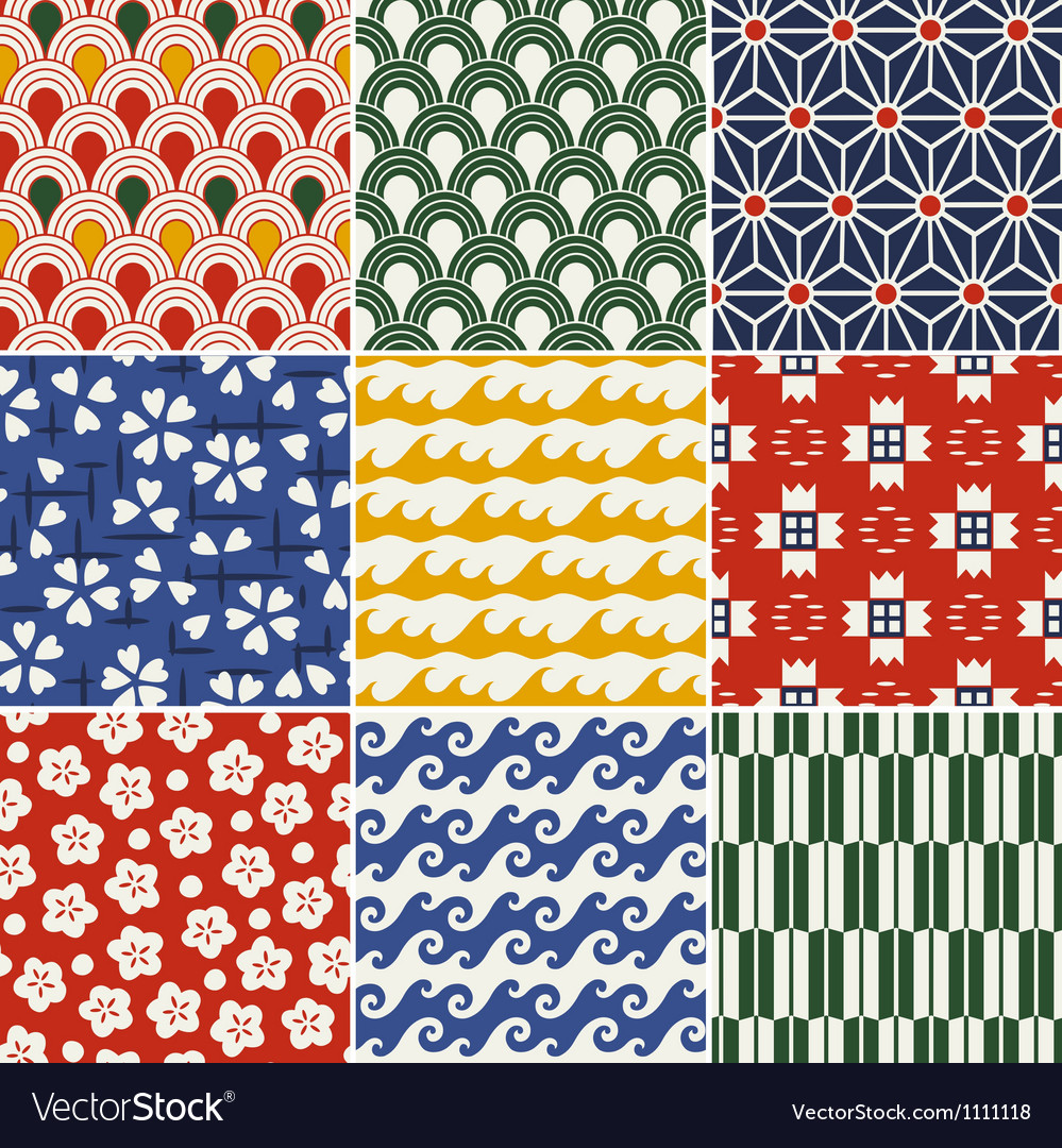 Seamless japanese style kimono pattern vector | Price: 1 Credit (USD $1)