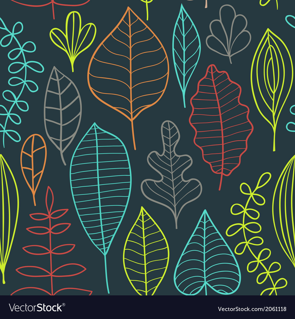 Seamless pattern on leaves theme autumn seamless vector | Price: 1 Credit (USD $1)