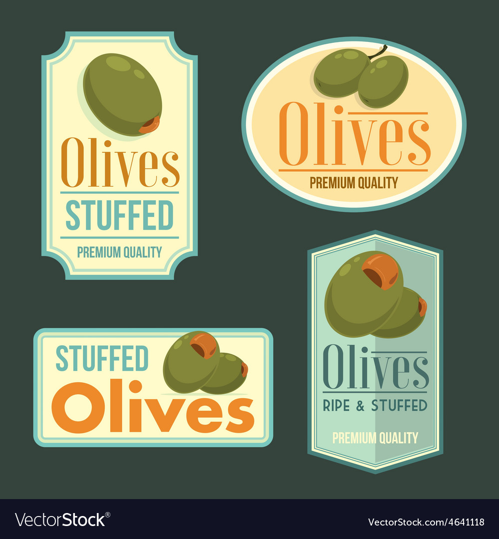 Set of ripe olives badges vector | Price: 1 Credit (USD $1)