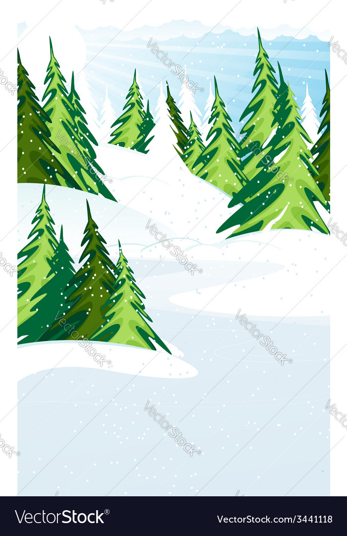 Snow covered pine forest vector | Price: 1 Credit (USD $1)