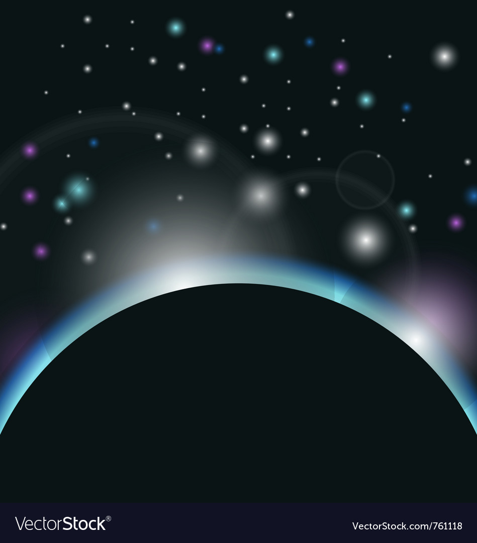 Space background with earth and sunrise - vector | Price: 1 Credit (USD $1)