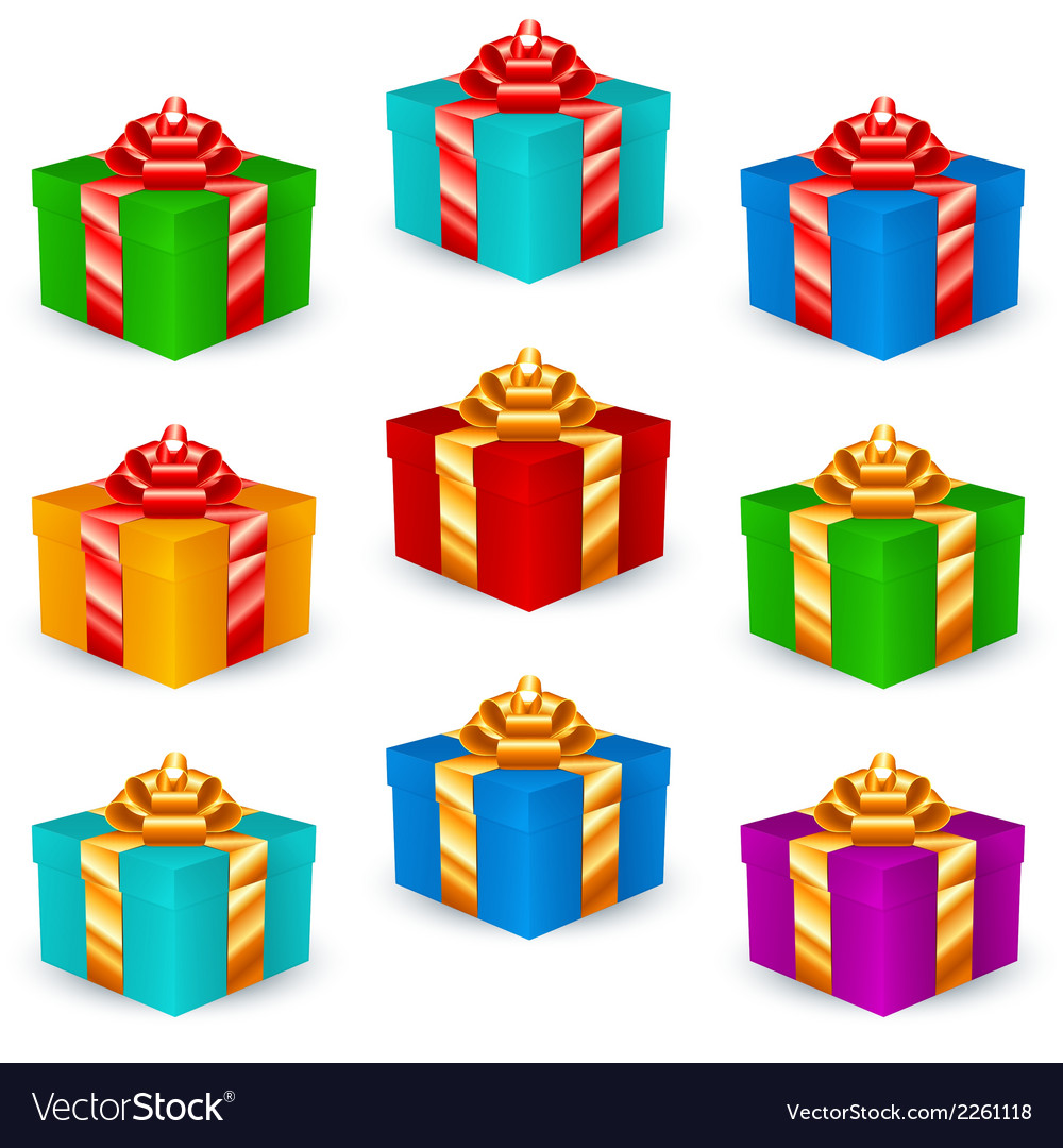 Square gift boxes multicolor vector