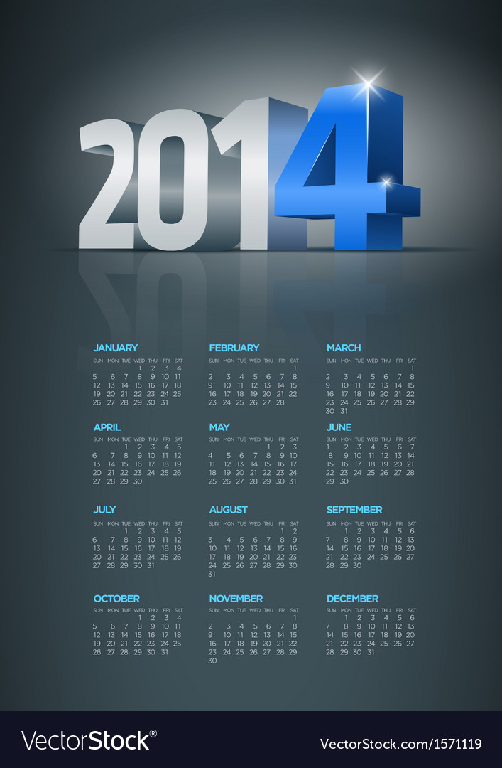 2014 calendar vector | Price: 1 Credit (USD $1)