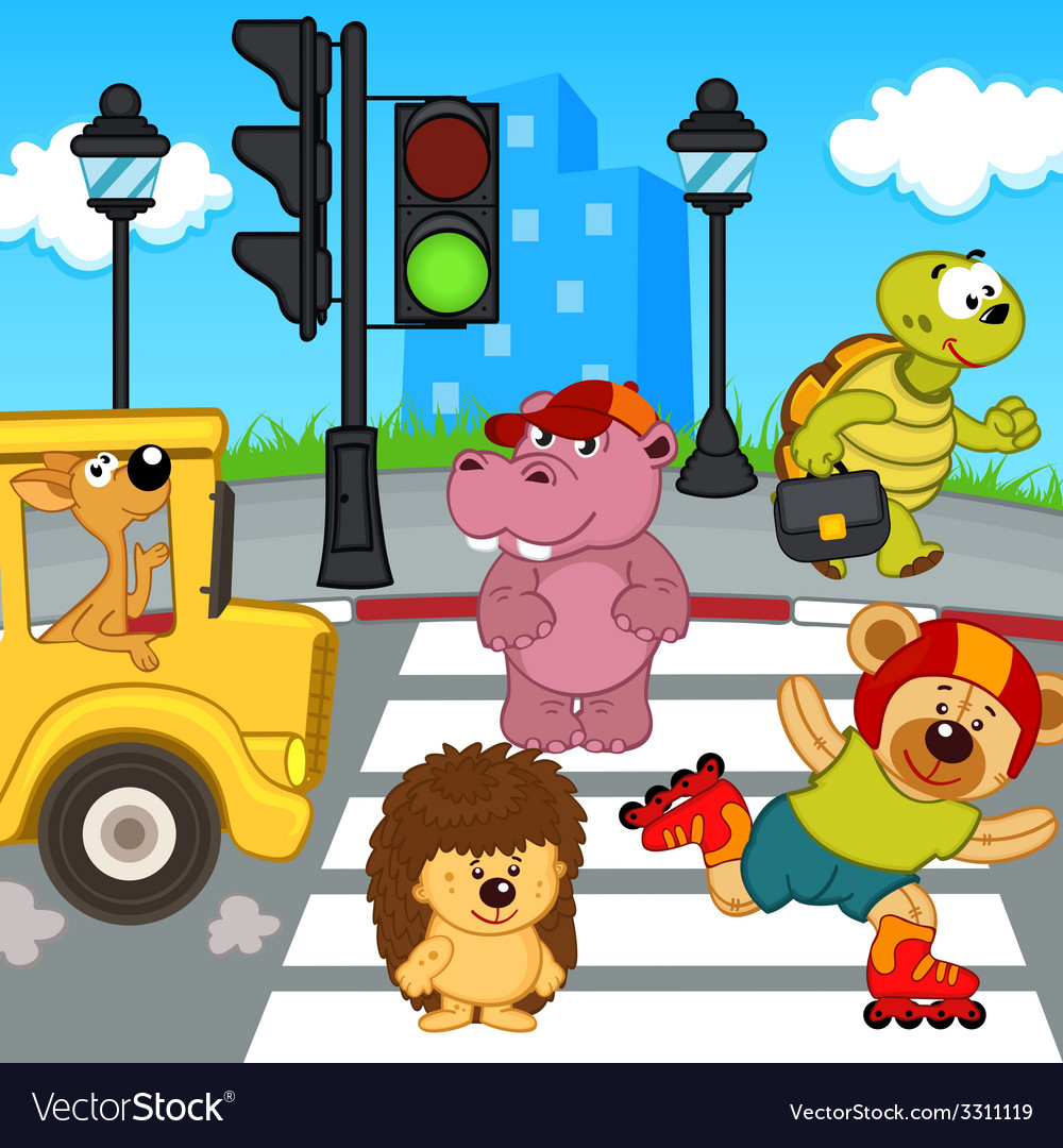 Animals go across crosswalk vector | Price: 1 Credit (USD $1)