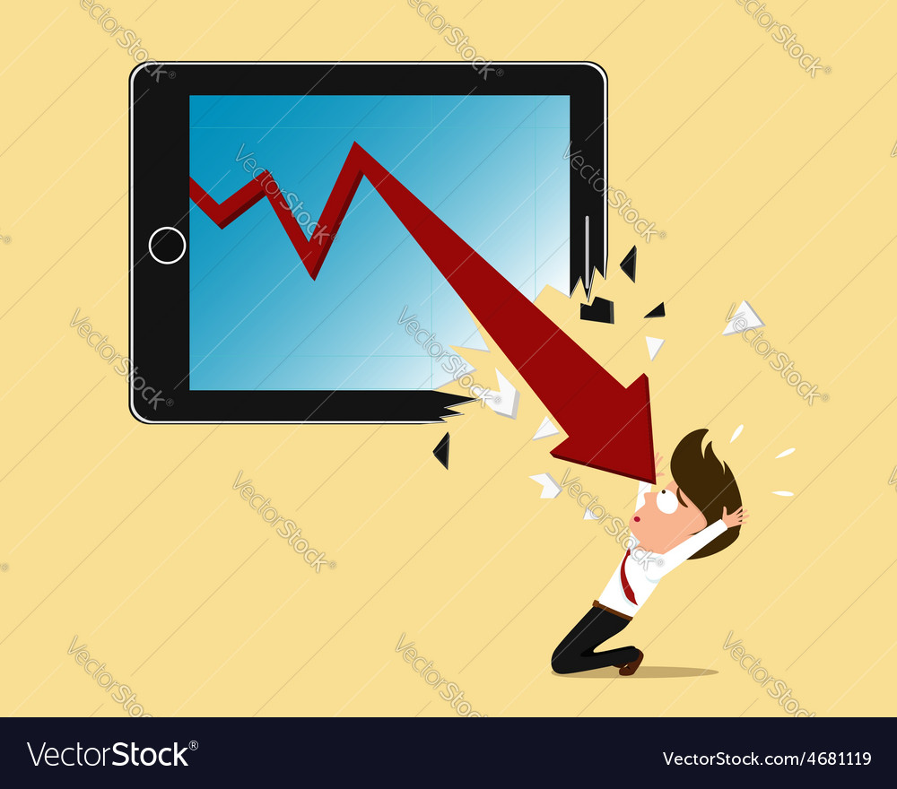 Bankruptcy concept red arrow crash tablet screen vector | Price: 1 Credit (USD $1)