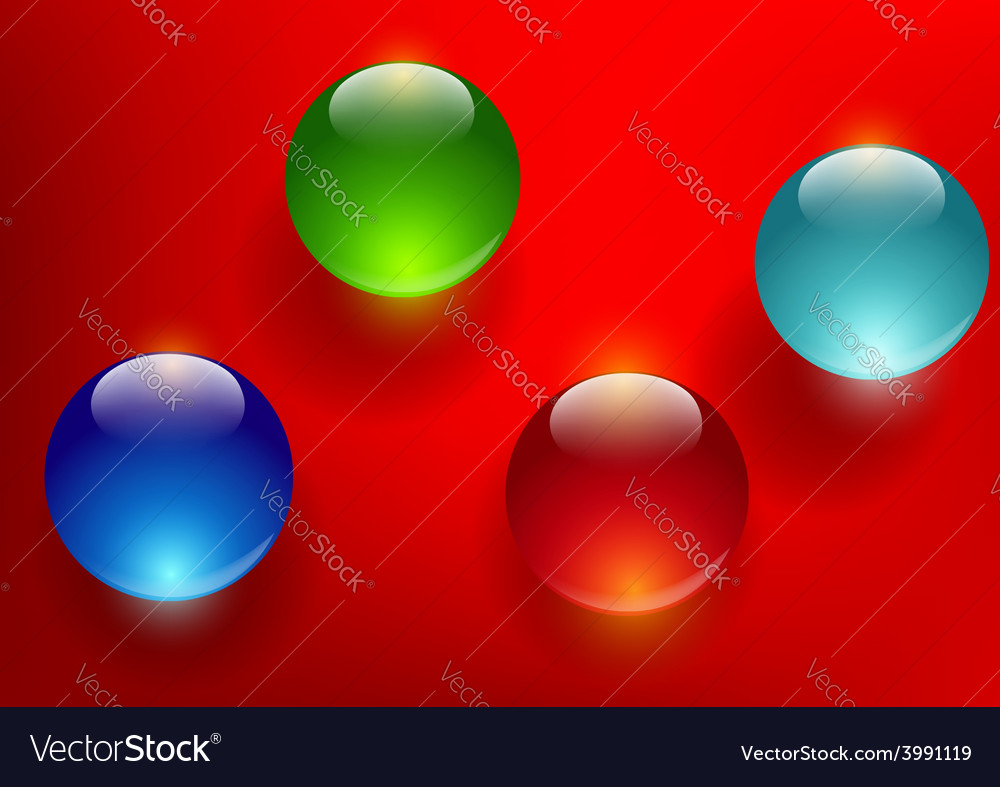 Colorful glass balls on a red background vector | Price: 1 Credit (USD $1)