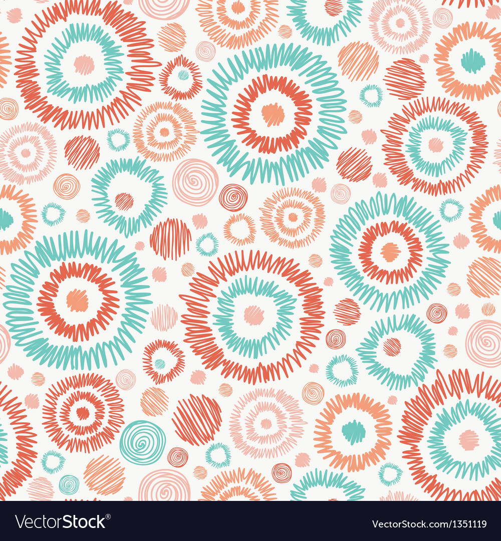 Doodle textured circles seamless pattern vector | Price: 1 Credit (USD $1)