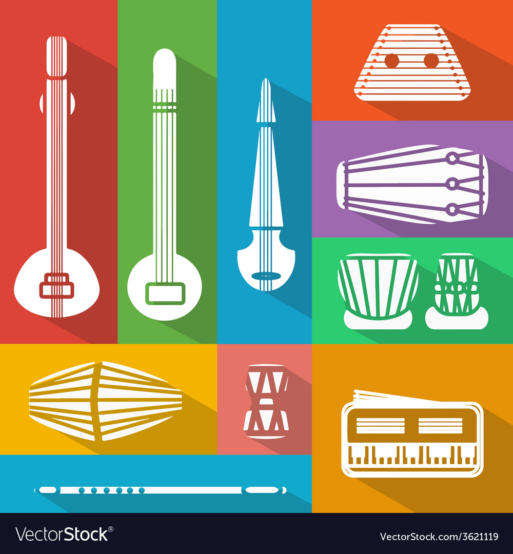 Flat indian instruments vector | Price: 1 Credit (USD $1)