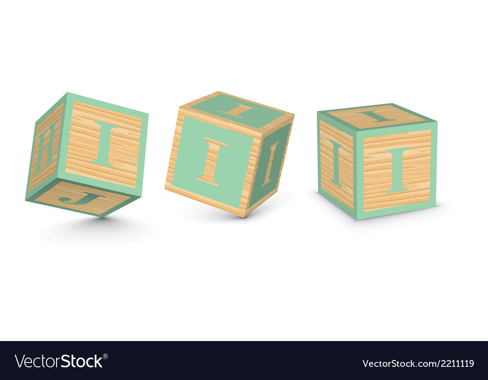 Letter i wooden alphabet blocks vector | Price: 1 Credit (USD $1)