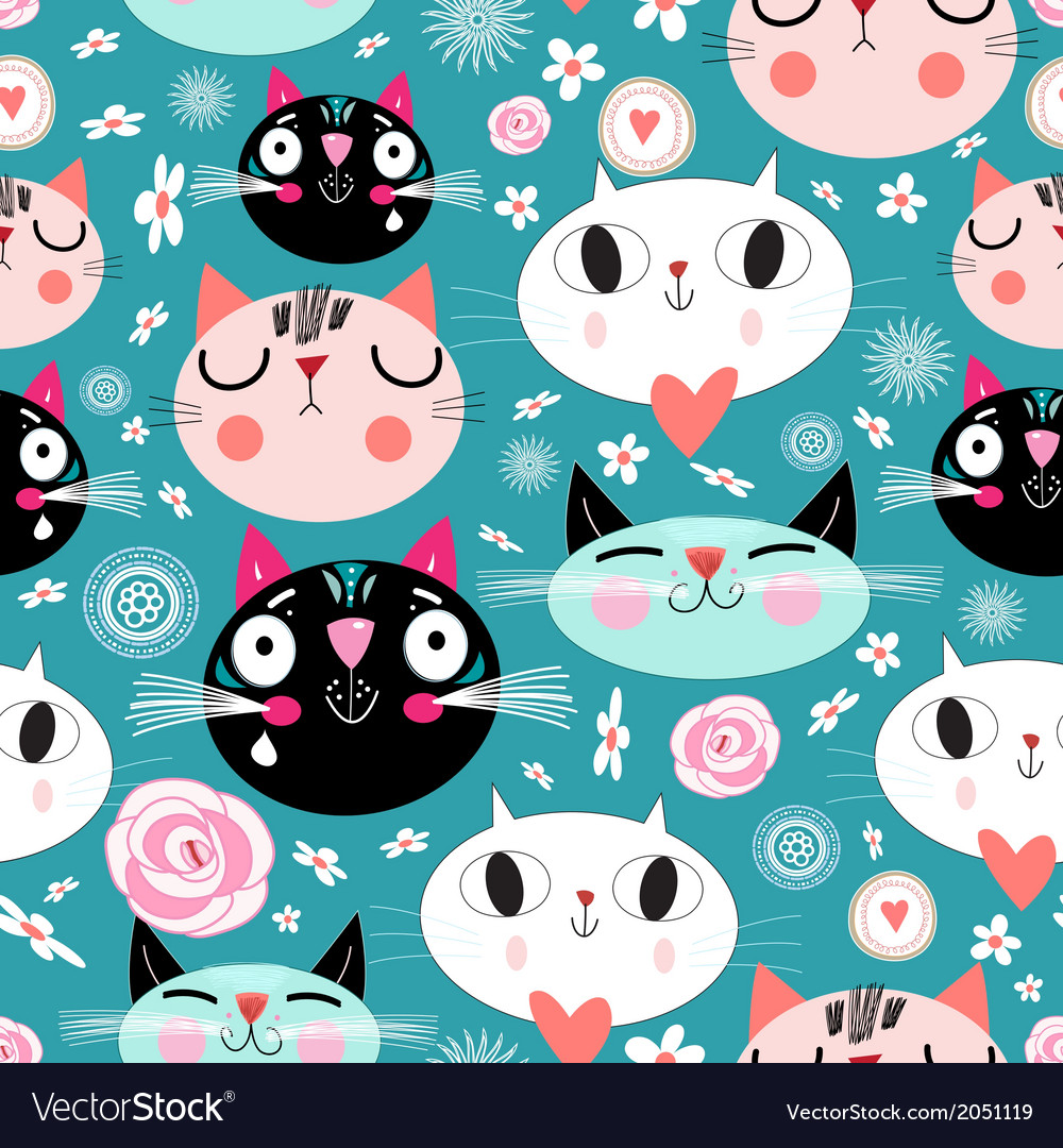 Pattern of love funny cats vector | Price: 1 Credit (USD $1)