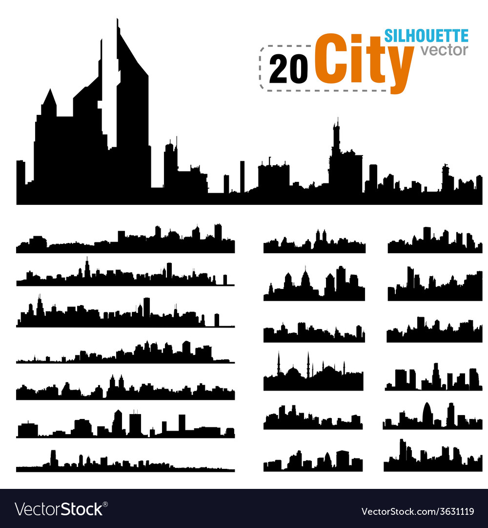 Set of city skylines vector | Price: 1 Credit (USD $1)