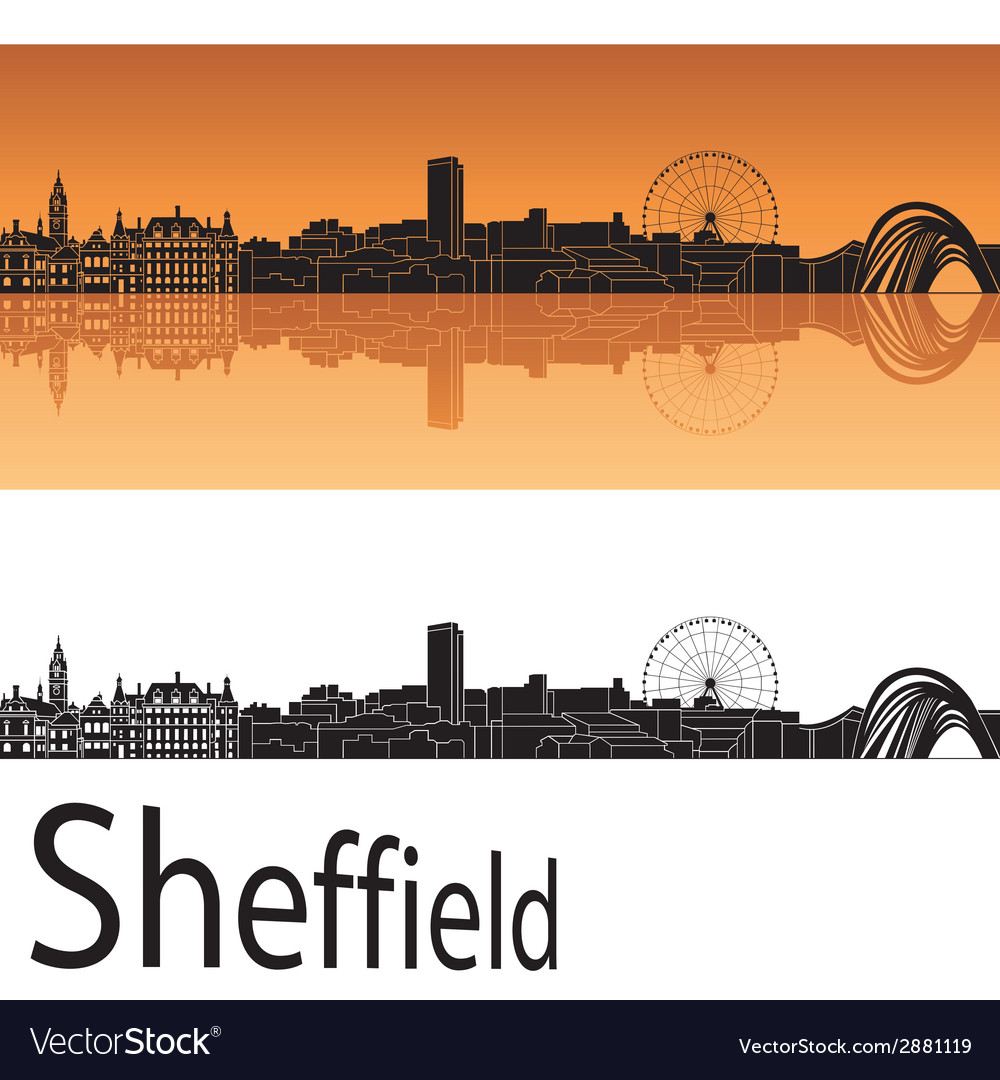 Sheffield skyline in orange background vector | Price: 1 Credit (USD $1)