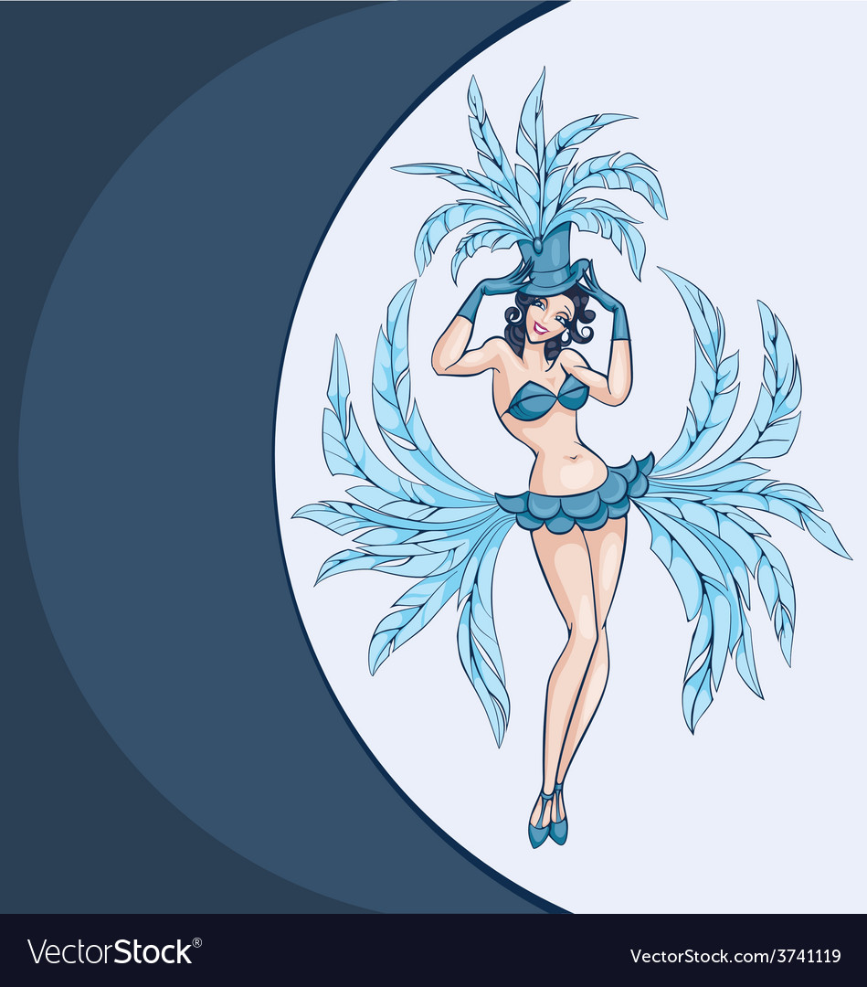 Smiling cabaret ot burlesque dancer posing vector | Price: 1 Credit (USD $1)