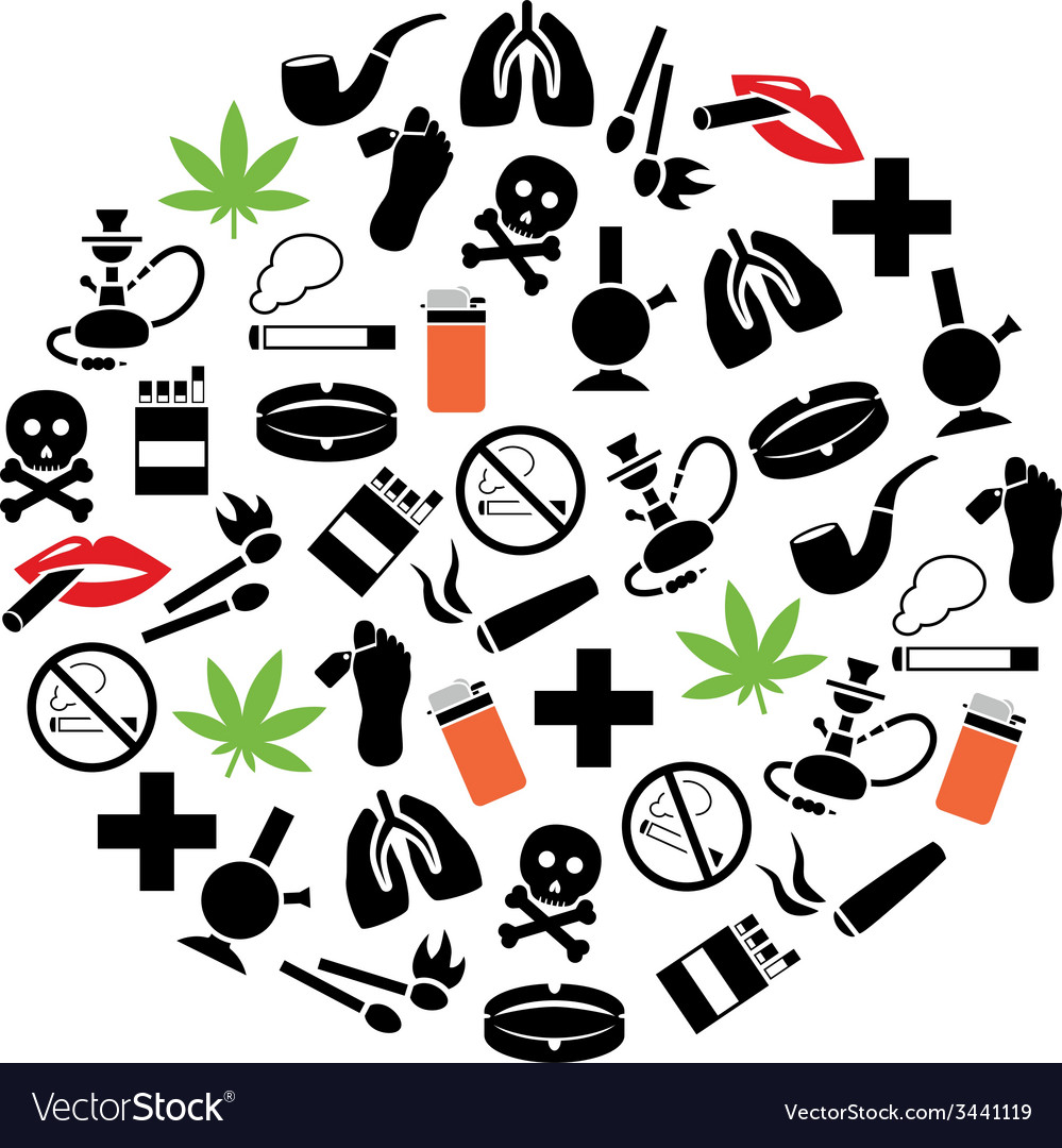 Smoking icons in circle vector | Price: 1 Credit (USD $1)
