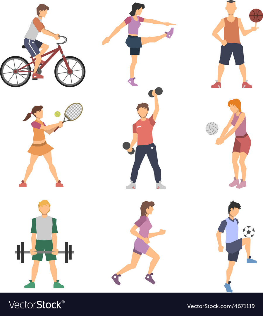 Sport people flat icons set vector | Price: 1 Credit (USD $1)