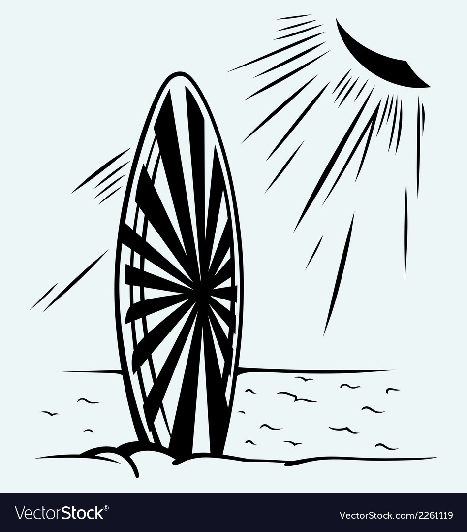 Surfboard on a beach vector | Price: 1 Credit (USD $1)