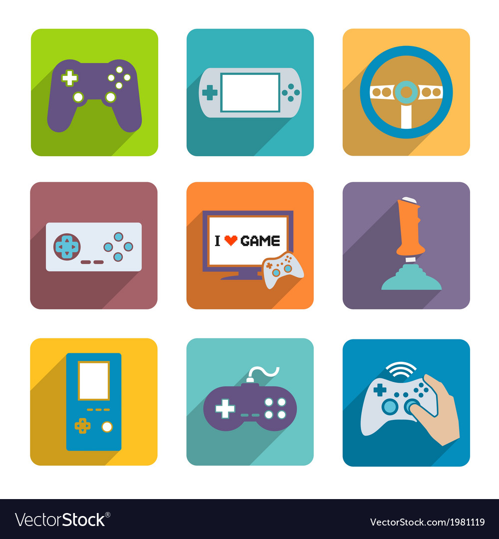 Video games controller icons set vector | Price: 1 Credit (USD $1)