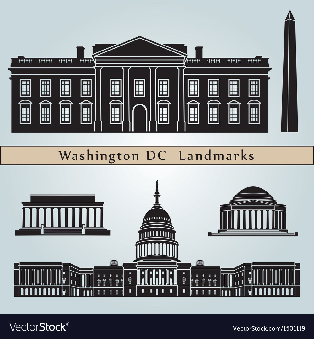 Washington dc landmarks and monuments vector | Price: 3 Credit (USD $3)
