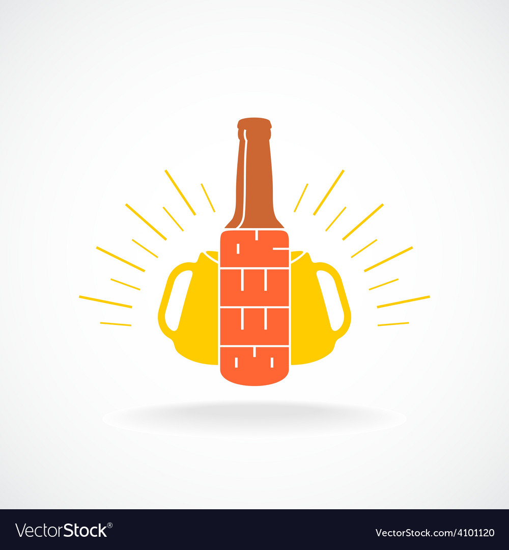 Beer logo template bottle with vertical text vector | Price: 1 Credit (USD $1)