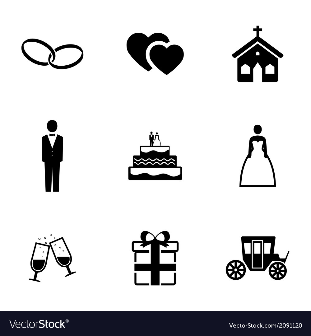 Black wedding icons set vector | Price: 1 Credit (USD $1)