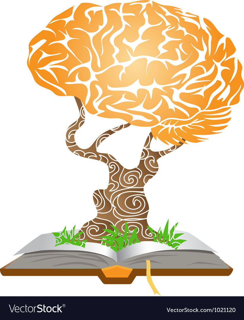 Brain tree on book vector | Price: 1 Credit (USD $1)