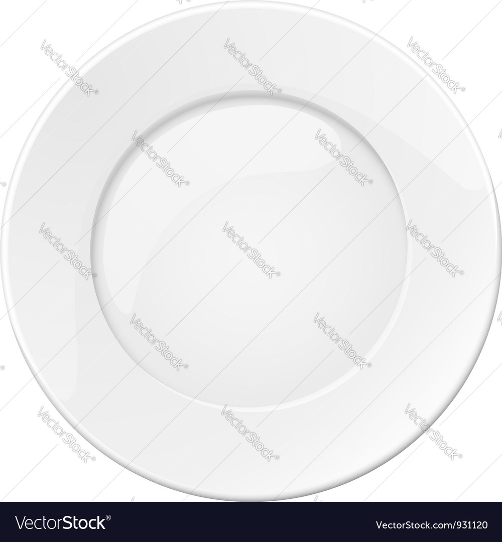 Empty white plate vector | Price: 1 Credit (USD $1)
