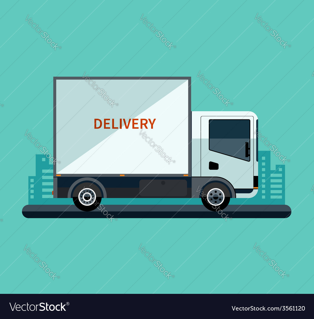 Flat design style delivery or cargo truck vector | Price: 1 Credit (USD $1)