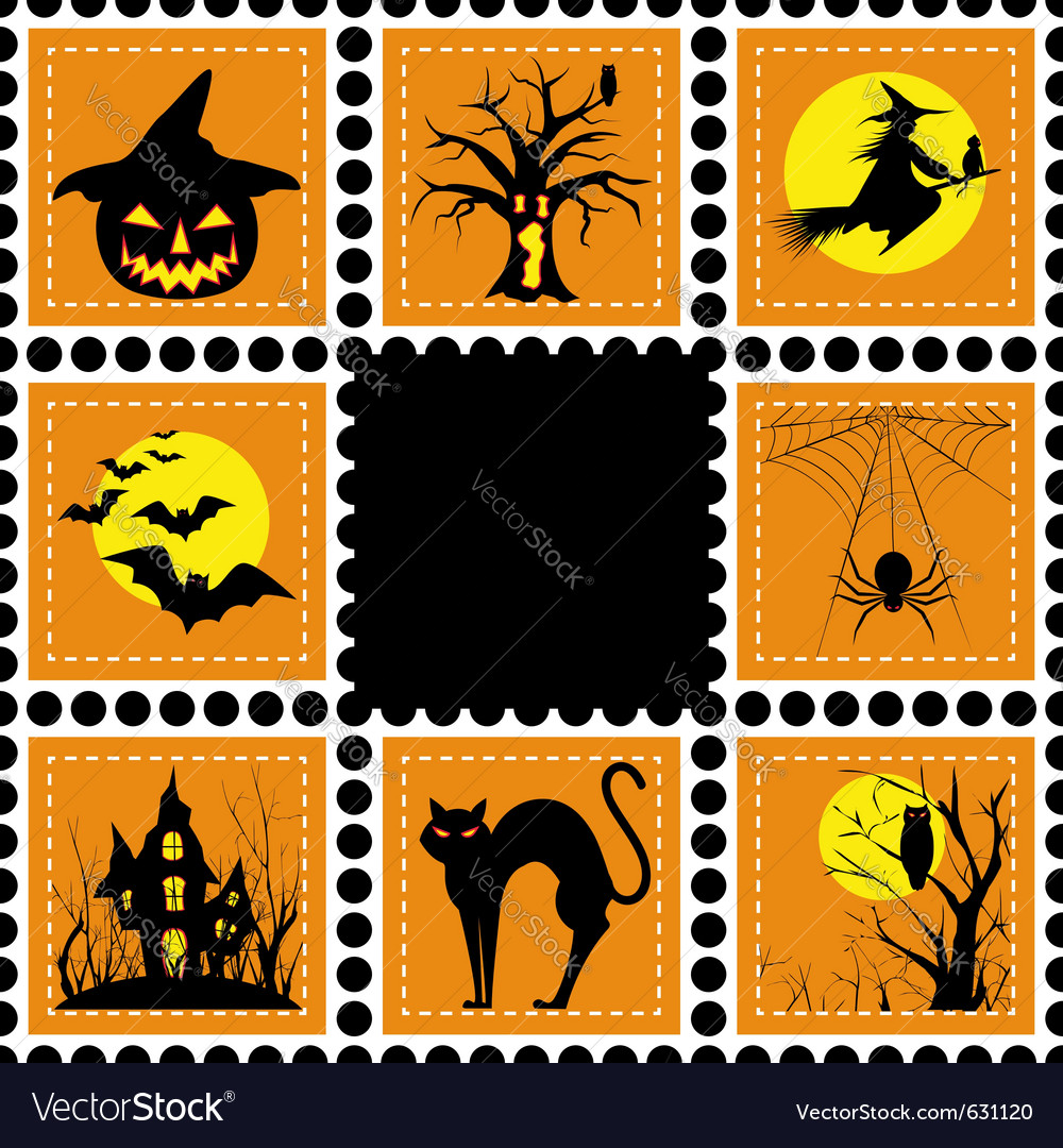 Halloween set of stamp on orange black background vector | Price:  Credit (USD $)