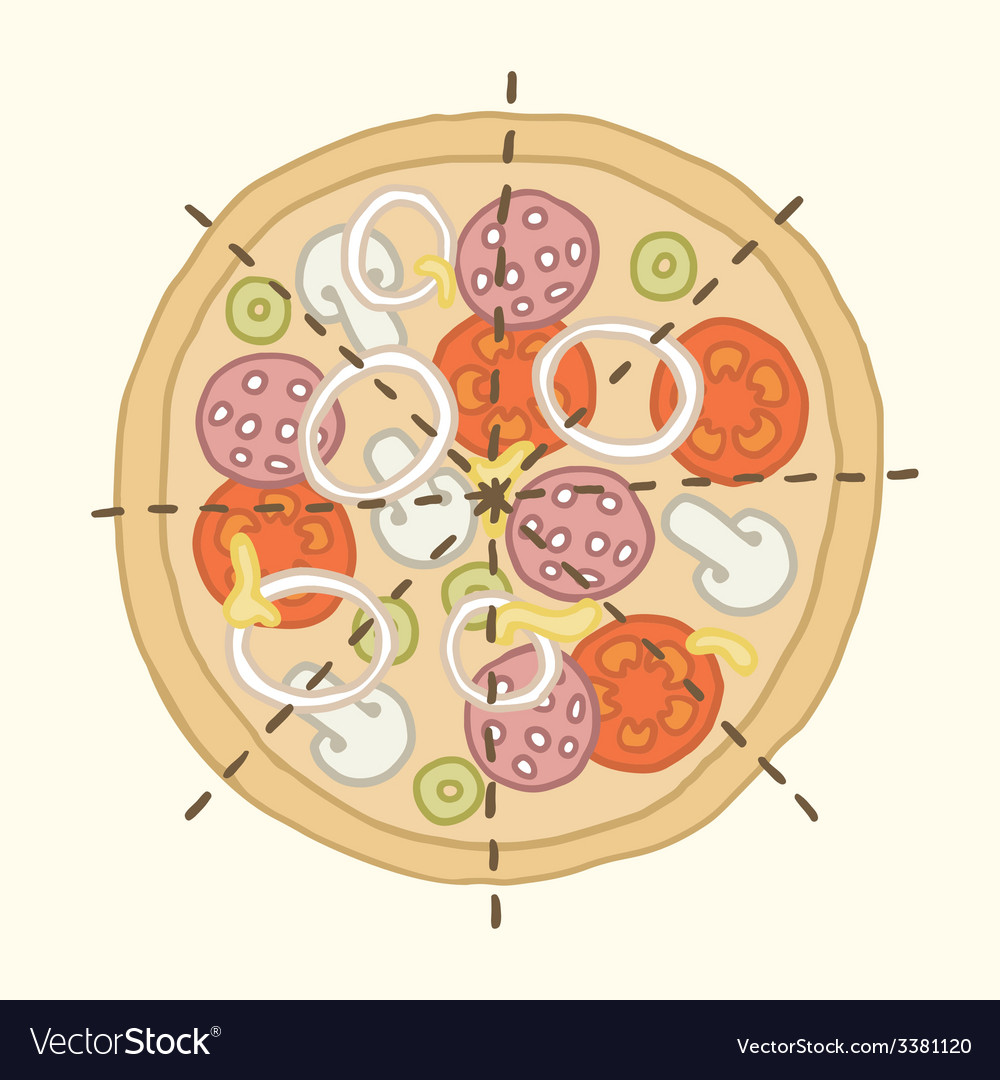 Hand drawn pizza with marking lines vector   Price: 1 Credit (USD $1)