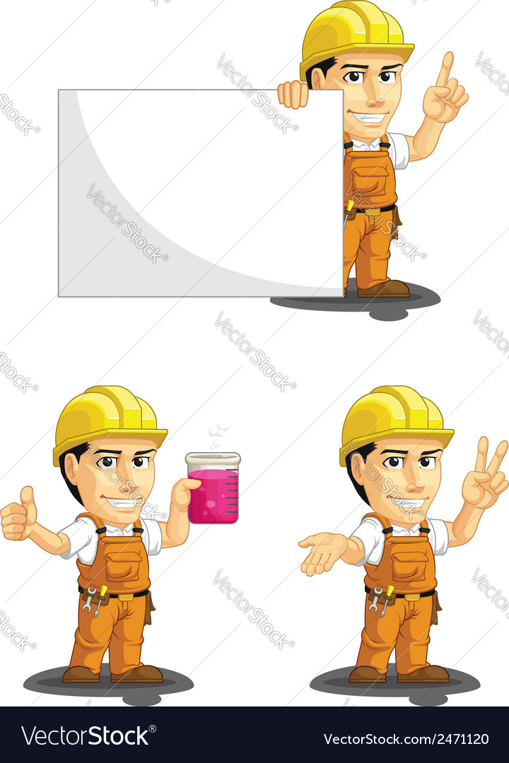 Industrial construction worker mascot 6 vector | Price: 1 Credit (USD $1)