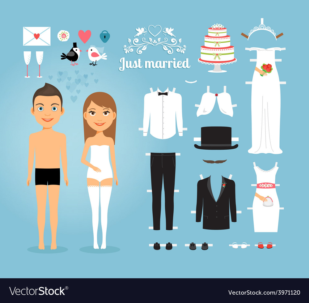 Just married paper dolls with set of wedding stuff vector | Price: 1 Credit (USD $1)