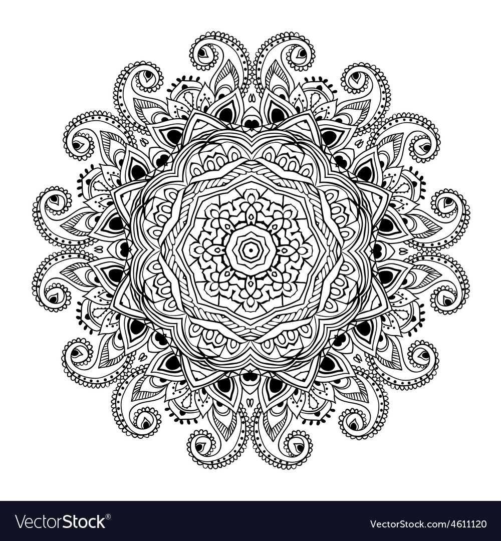 Ornament black white card with mandala vector | Price: 1 Credit (USD $1)