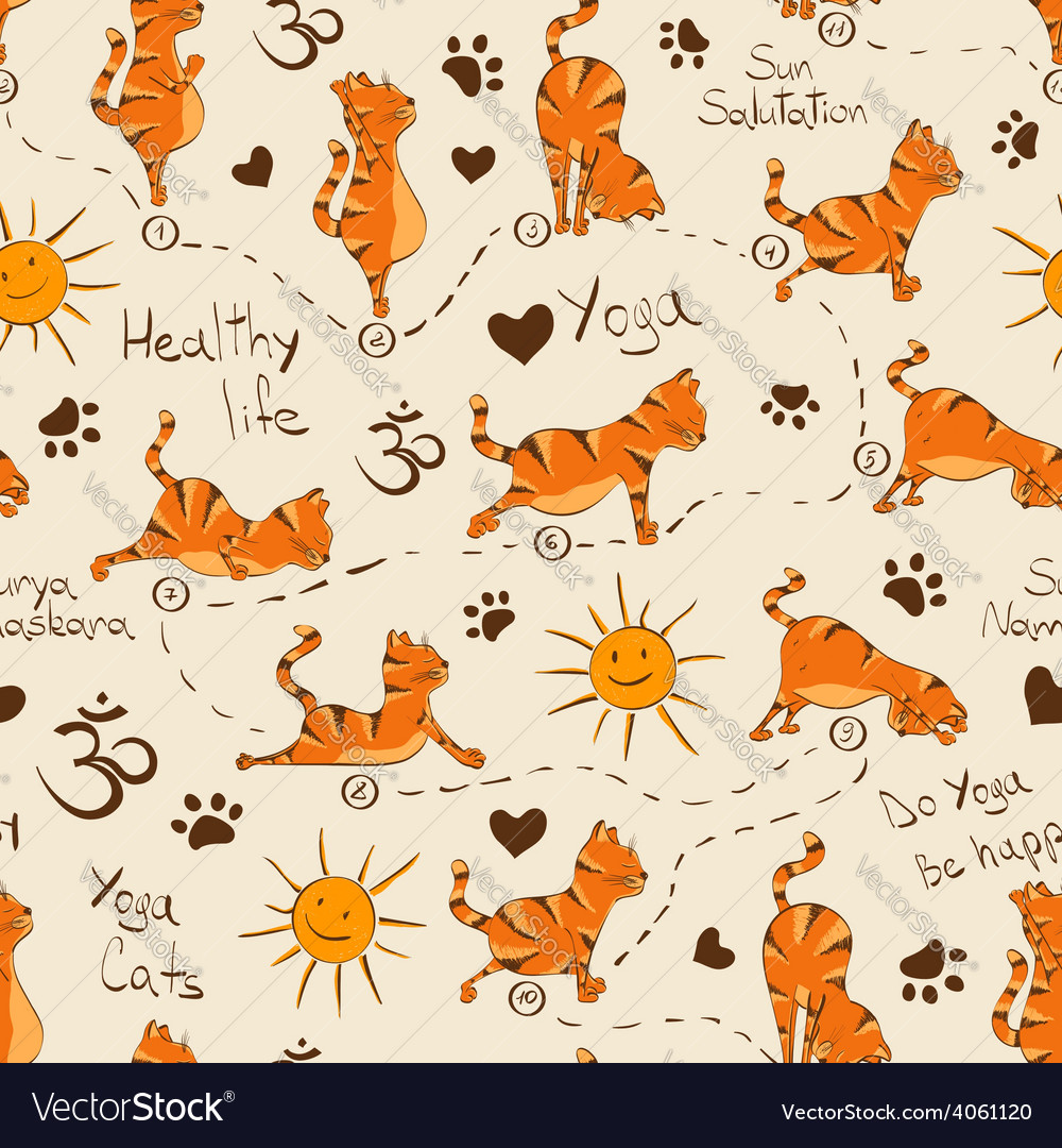 Seamless pattern with cat doing yoga position of vector | Price: 1 Credit (USD $1)