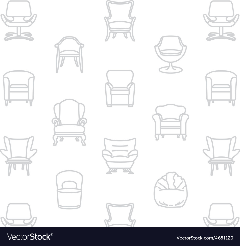 Seamless white pattern of armchairs vector | Price: 1 Credit (USD $1)