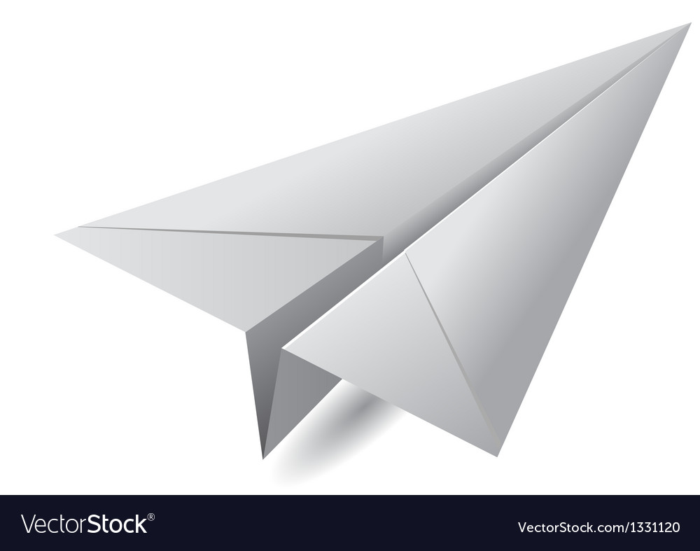 White paper airplane vector | Price: 1 Credit (USD $1)