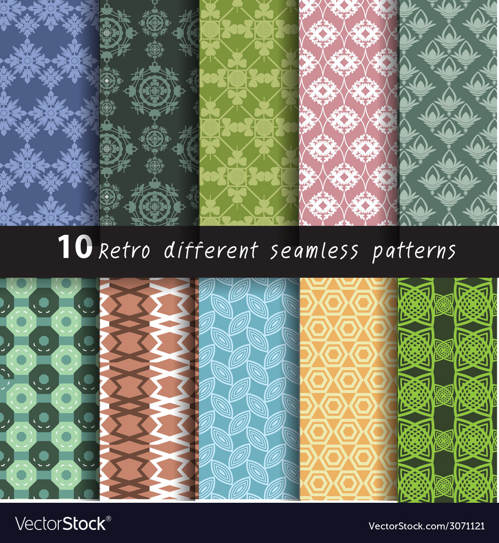 10 retro different seamless patterns for wa vector | Price: 1 Credit (USD $1)