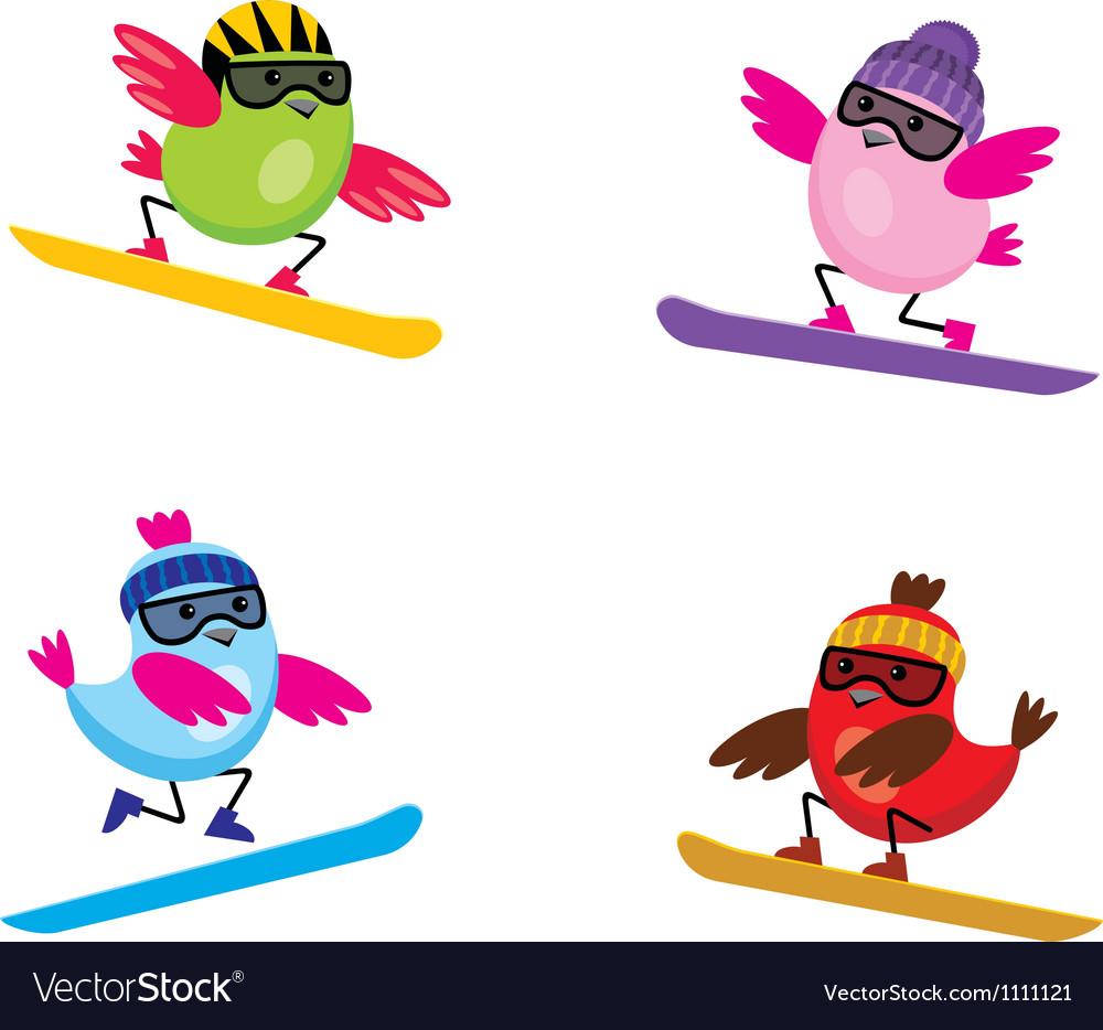 Birds on snouborde vector   Price: 1 Credit (USD $1)
