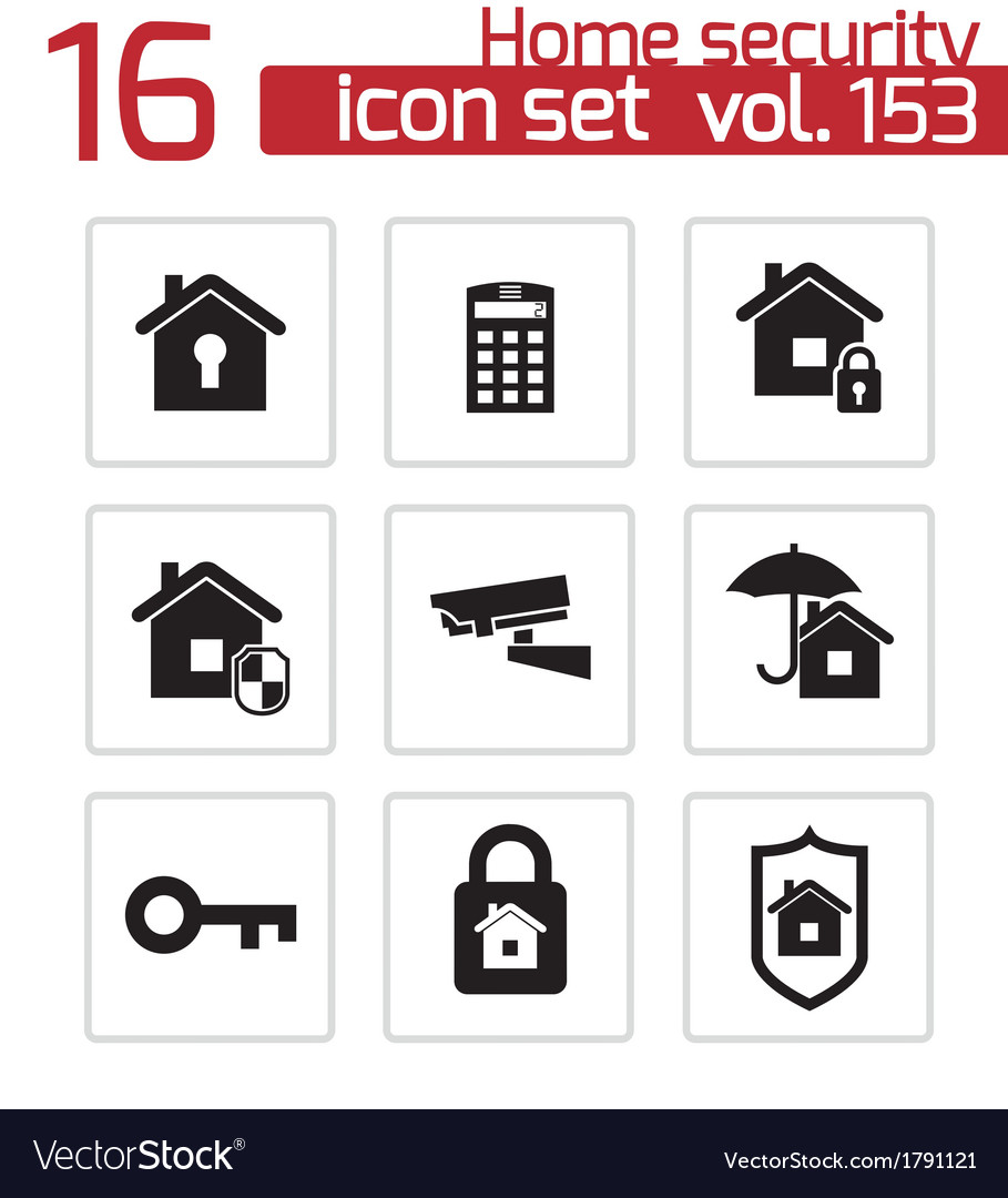 Black home security icons set vector | Price: 1 Credit (USD $1)