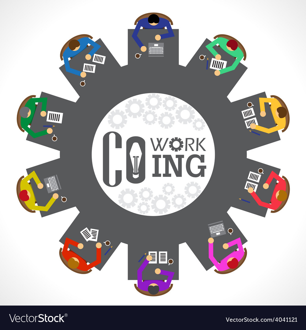 Businessman co woking top view vector | Price: 1 Credit (USD $1)