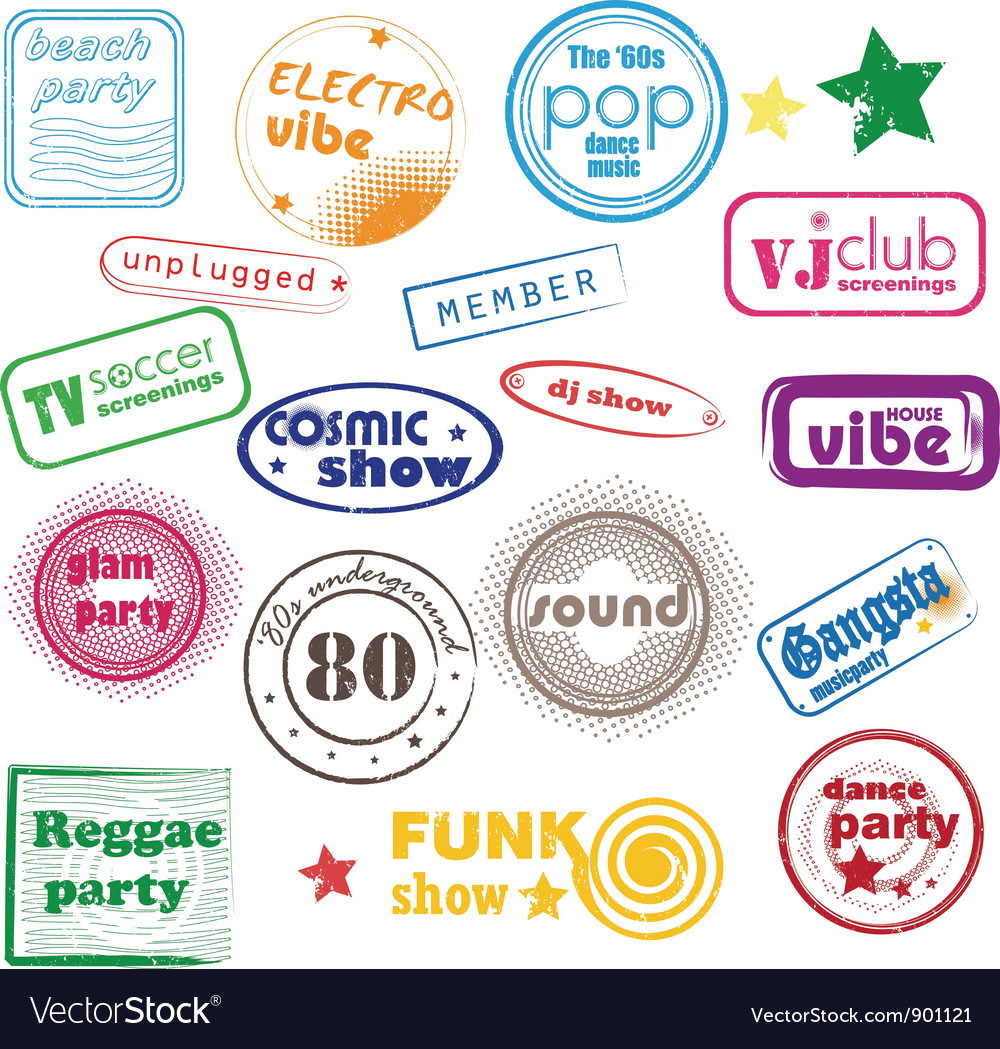 Club music stamps vector | Price: 1 Credit (USD $1)