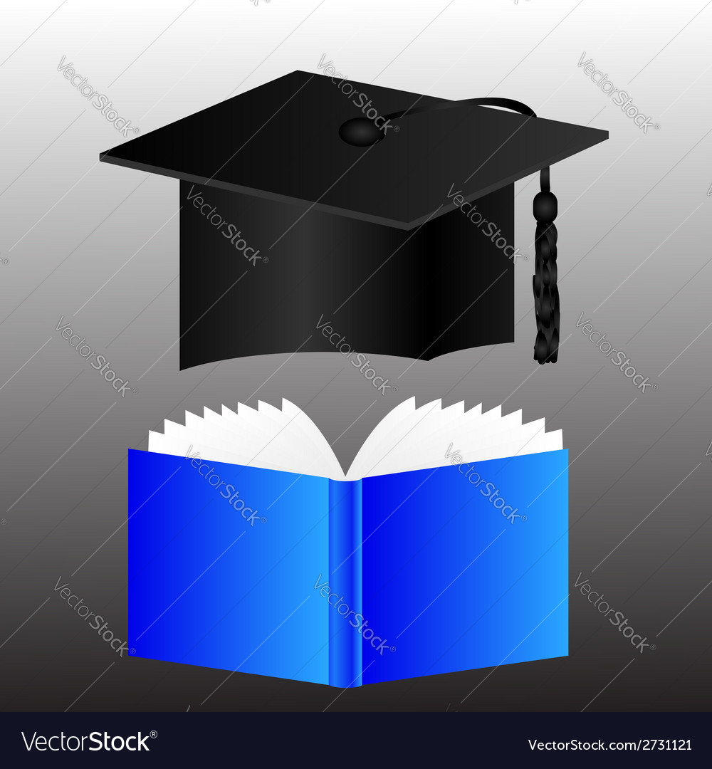 Graduation cap and book vector | Price: 1 Credit (USD $1)