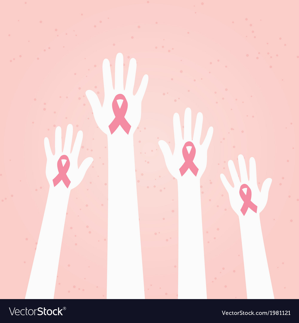 Hands with pink breast cancer awareness ribbon vector | Price: 1 Credit (USD $1)