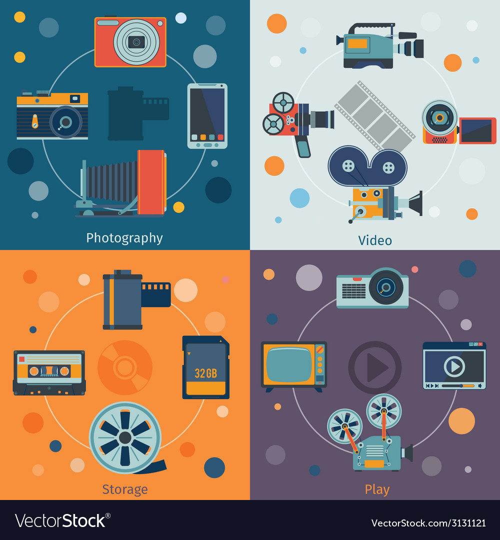 Photo video icons flat vector | Price: 1 Credit (USD $1)